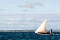 Men sailing on the sea of Zanj, Ihla das Rolas, Mozambique Fine-Art Print