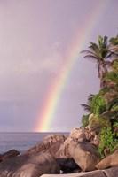 Rainbow over Tropical Beach of Anse Victorin, Seychelles Fine-Art Print