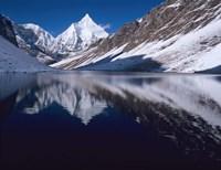 Mount Jichu Drake in Sophu lake, Jigme Dorji NP, Bhutan Fine-Art Print