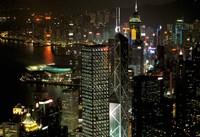 Skyscrapers of Victoria Harbor, Hong Kong, China Fine-Art Print