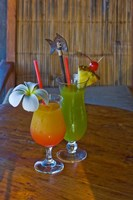 Tropical cocktails, Fregate Resort island, Seychelles Fine-Art Print