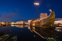 Tunisia, Bizerte, Old Port, floating restaurant Fine-Art Print