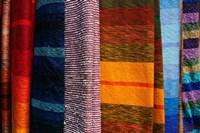 Woven Moroccan silk scarves, Fes, Morocco, Africa Fine-Art Print