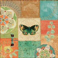 Folk Floral III Center Butterfly Fine-Art Print