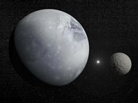 Pluton, its big moon Charon and the Polaris star Fine-Art Print