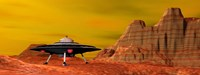 UFO landing on a desert landscape Fine-Art Print