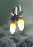 Space shuttle taking off amongst grey smoke and clouds Fine-Art Print