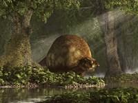 A large Glyptodon stands near the edge of a stream Fine-Art Print