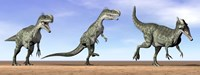 Three Monolophosaurus dinosaurs standing in the desert Fine-Art Print