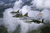 Four Saab 37 Viggen fighters of the Swedish Air Force Fine-Art Print