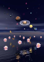 Planets of the solar system surrounded by lotus flowers and butterflies Fine-Art Print
