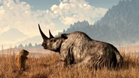 A marmot approaches an old and grey woolly rhinocerous Fine-Art Print