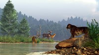 A saber-toothed cat looks across a river at a family of deer Fine-Art Print