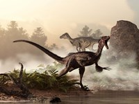 A pair of velociraptors patrol the shore of an ancient lake Fine-Art Print