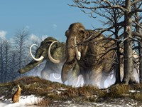 A rabbit witnesses a herd of mammoths in a snowy forest Fine-Art Print