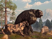 A saber-toothed cat tries to drive a short-faced bear out of its territory Fine-Art Print