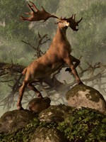 An Irish Elk stands proudly in a dense forest Fine-Art Print