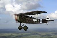 Fokker DVII World War I replica fighter in the air Fine-Art Print