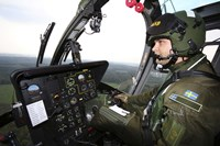 Inside the MBB Bo 105 helicopter of the Swedish Air Force Fine-Art Print