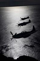 Three P-51 Cavalier Mustang warbirds in flight Fine-Art Print