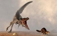 A velociraptor chasing a rat sized mammal Fine-Art Print