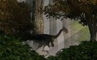 Gigantoraptor in a dense prehistoric forest Fine-Art Print