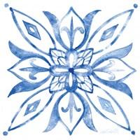 Tile Stencil II Blue Fine-Art Print
