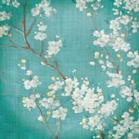 White Cherry Blossoms II on Blue Aged No Bird Fine-Art Print