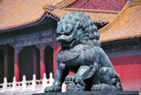 China, Beijing, Lion statue guards Forbidden City Fine-Art Print