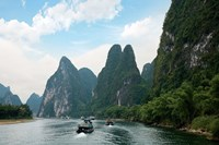 China, Guilin, Li River, Boats along the River Fine-Art Print
