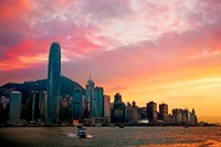 Victoria Peak as seen from a boat in Victoria Harbor, Hong Kong, China Fine-Art Print