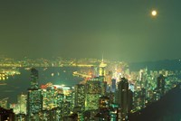 City Lights at Twilight From Victoria Peak, Central District, Hong Kong, China Fine-Art Print