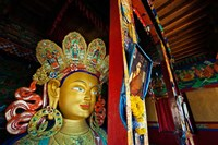 Dalai Lama Picture Beside Maitreya Buddha, Thiksey Monastery, Thiksey, Ladakh, India Fine-Art Print