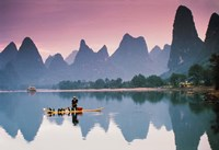Cormorant fishing at dusk, Li river, Guangxi, China Fine-Art Print