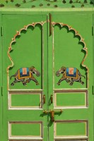 Elephants painted on green door, City Palace, Udaipur, India Fine-Art Print