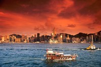 Hong Kong Harbor at Sunset, Hong Kong, China Fine-Art Print