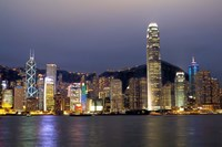 Hong Kong Skyline with Victoris Peak, China Fine-Art Print