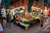 Street Market Vegetables, Hong Kong, China Fine-Art Print