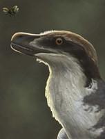 Acheroraptor dromaeosaurid dinosaur with hispine beetle Fine-Art Print