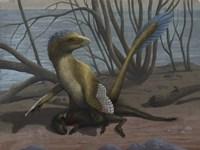 A Deinonychus protects its kill, a psittacosaurid dinosaur Fine-Art Print