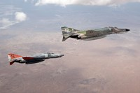 Two QF-4E Phantom II drones in formation over the New Mexico desert Fine-Art Print