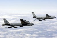 A B-52H Stratofortress refuels with a KC-135R Stratotanker Fine-Art Print
