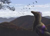 Velociraptor in an autumn landscape Fine-Art Print