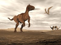 Velociraptor dinosaur in desert landscape with two pteranodon birds Fine-Art Print