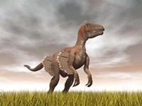 Velociraptor dinosaur standing in the yellow grass Fine-Art Print