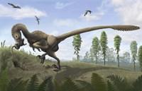 Saurornitholestes seeks prey in burrows Fine-Art Print