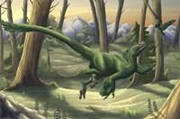 A bright green Velociraptor runs through a prehistoric forest Fine-Art Print