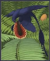 Microraptor gui snacking on a cycad fruit Fine-Art Print