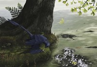 Microraptor gui eating a small fish Fine-Art Print