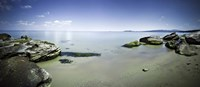 Panoramic view of tranquil sea and boulders against blue sky, Burgas, Bulgaria Fine-Art Print